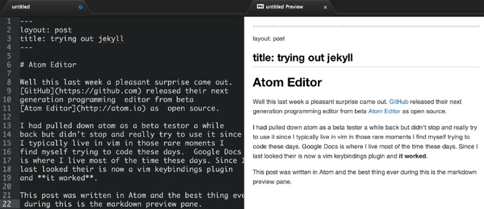 atom editor markdown preview pane
